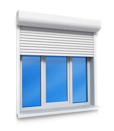 window sill: plastic window in the wall isolated on white background 3d illustration