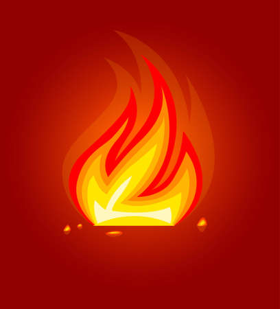 burning fire flame in fireplace icon vector illustration