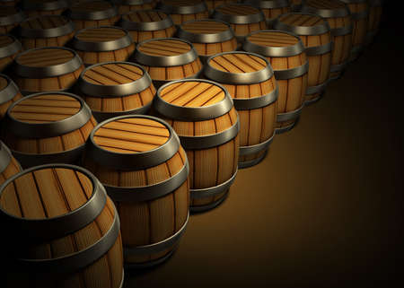 cellar: wooden barrels for wine and beer storage in dark cellar