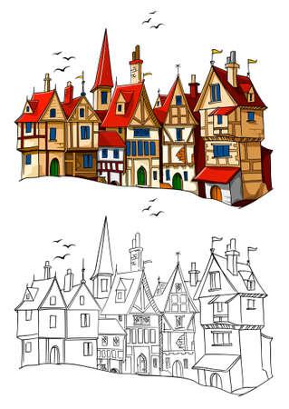 antigua ciudad europea con la arquitectura ilustración vectorial