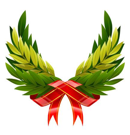 illustrazione vettoriale di ali da corona verde foglie isolate
