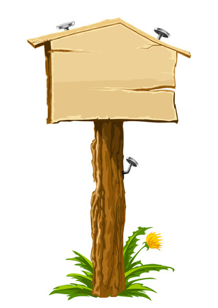 wooden blank sign illustrating real-estate theme: house for sale. Vector illustration