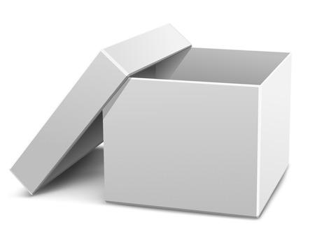 a ouvert une boîte de carton blanc vecteur illustration isolé sur fond blanc