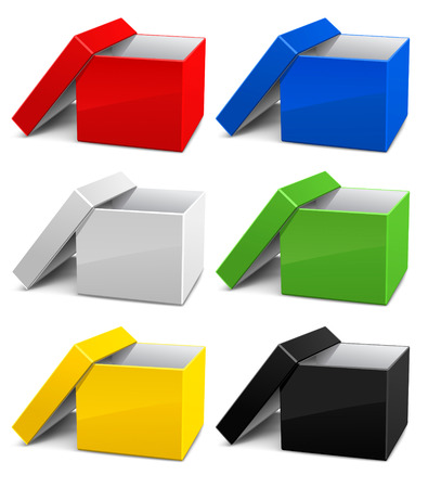 set of color empty opened cardboard boxes vector illustration