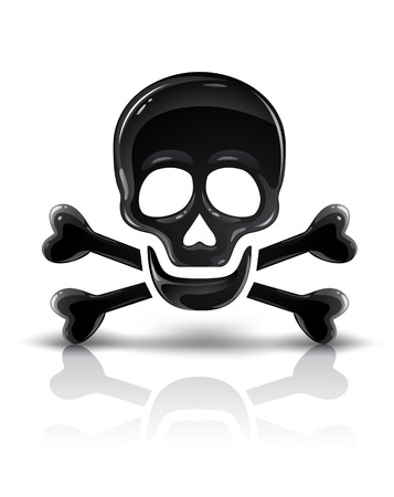 black skull symbol with crossed bones vector illustration Иллюстрация