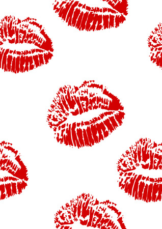 seamless pattern of red lipstick kiss stamp - vector illustration