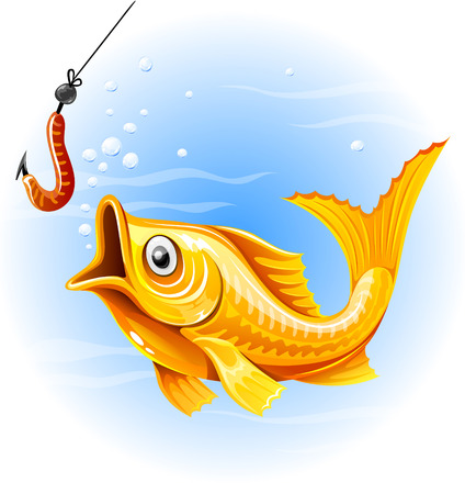 fishing the gold fish hunting worm - vector illustration