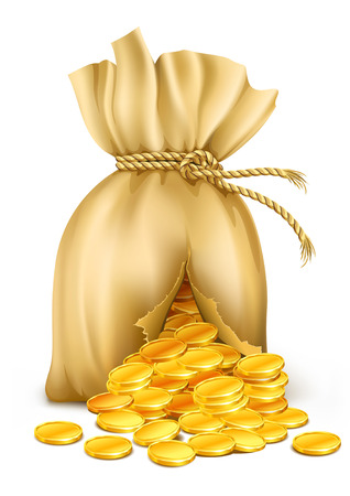 cracked sack wired by rope with gold coins - vector illustration