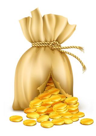 gekrackte Sack verdrahtet von Seil mit Gold-Münzen - Vektor-Illustration