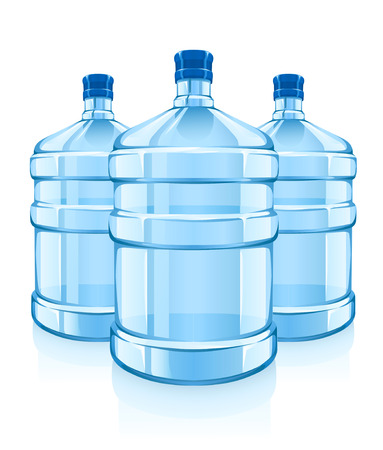 three big bottles with clean blue water drink - vector illustration Vetores