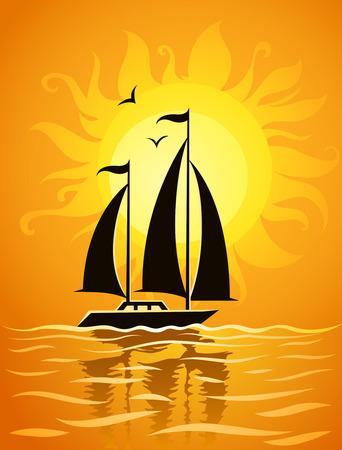 Black navire silhouette sur fond de mer coucher de soleil - illustration vectorielle