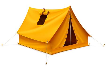 tienda de campaña amarilla turísticos para viajes y campamentos aislados - ilustración vectorial