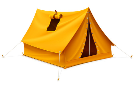 yellow tourist tent for travel and camping isolated - vector illustration