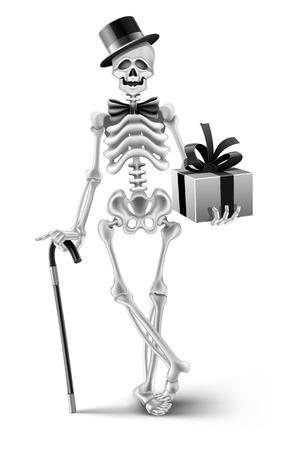 elegant skeleton gentleman with a halloween gift - vector illustration