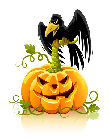 halloween pumpkin vegetable with black raven bird - vector illustration Иллюстрация