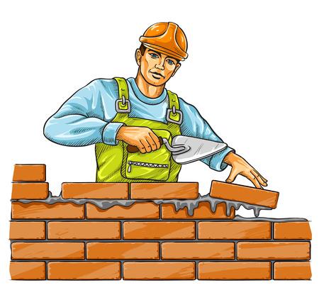 ベクトル イラスト - レンガの壁を構築ダービー ツールとビルダー男