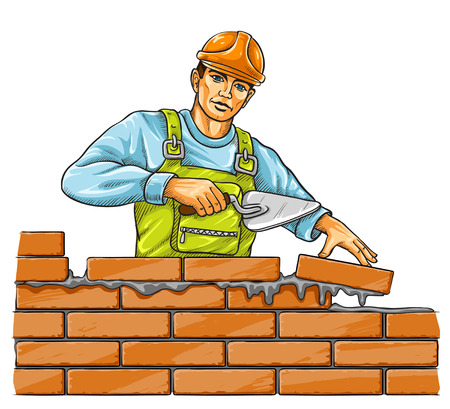 builder man with derby tool building a brick wall - vector illustration