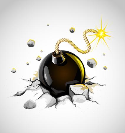 concrete ground cracked by dangerous burning bomb - vector illustration