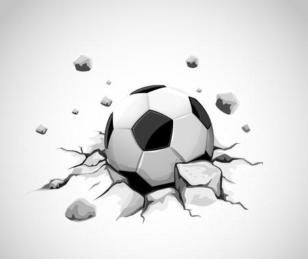 grey concrete ground cracked by soccer ball - vector illustration Vektoros illusztráció