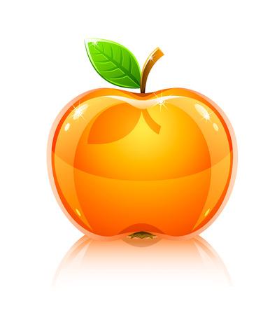 光沢のあるガラス黄色リンゴ果実の葉