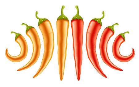 hete rode en gele paprika's - vectorillustratie