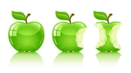 grün nibbled Apfel mit Blatt