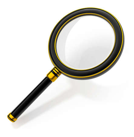 enlarger: black magnifying glass tool isolated on white background