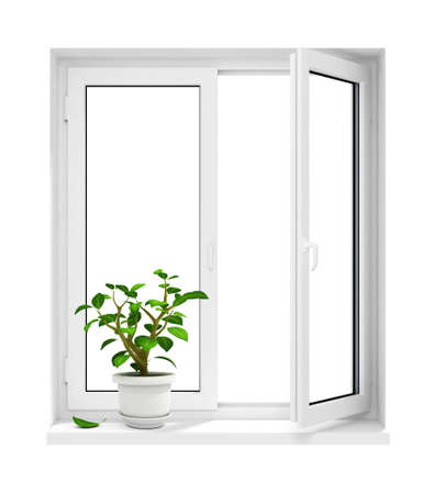 glass window: open plastic window with flowerpot on windowsill