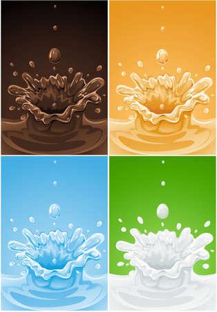impostare dei vari illustrazione vettoriale splash bere liquidi ?