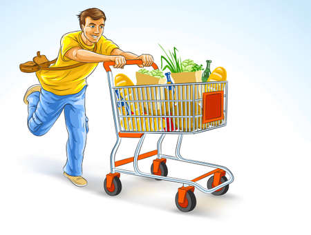running man with shopping cart full of products - vector illustration, isolated on white background Stock Vector - 6420253
