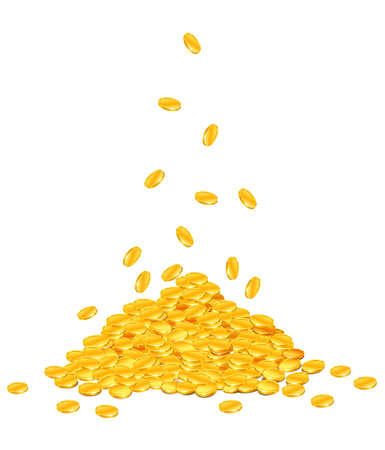 golden coins dropping down on pile – vector illustration, isolated on white background Vetores