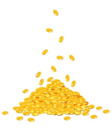 monedas de oro bajar en pila ? vector de ilustración, aislado en fondo blanco  Ilustración de vector