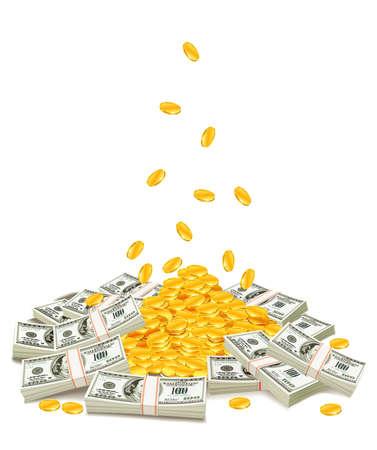 monedas de oro cayendo hacia abajo en la pila de packs de dólar - ilustración vectorial, aislado en fondo blanco