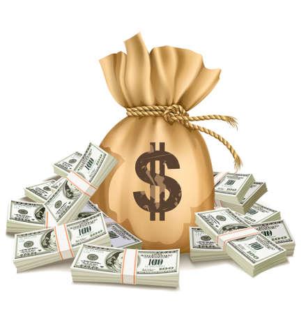 Tasche mit Packs Dollar Geld - Vektor-Illustration, isoliert auf weißem Hintergrund