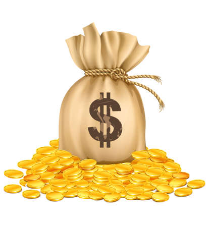 bag with dollars money on pile of golden coins - vector illustration, isolated on white background