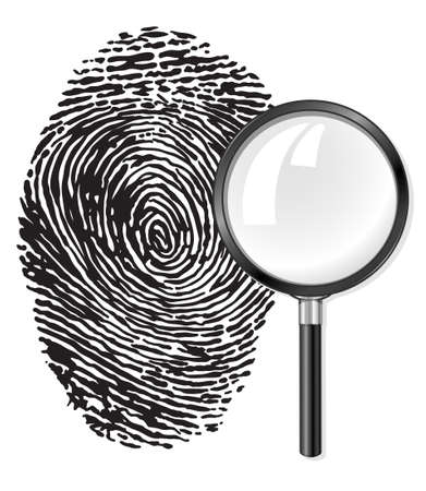 inquest: black fingerprint and magnifying glass loupe vector illustration, isolated on white background Stock Photo