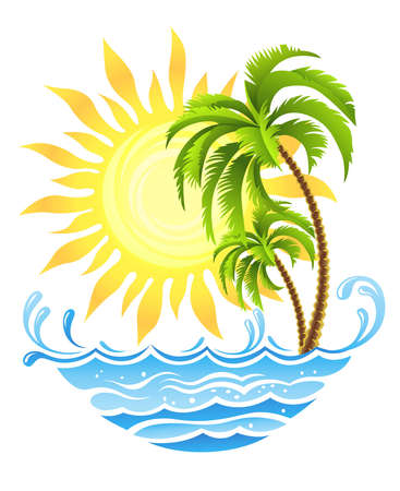 tropical palms with sun and ocean vector illustration, isolated on white background illustration