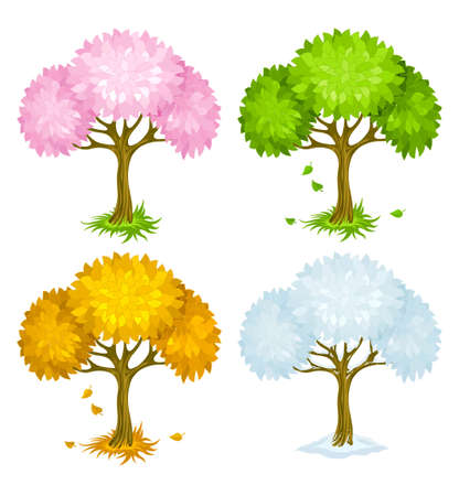 set of trees from different seasons illustration Stock Illustration - 6589953