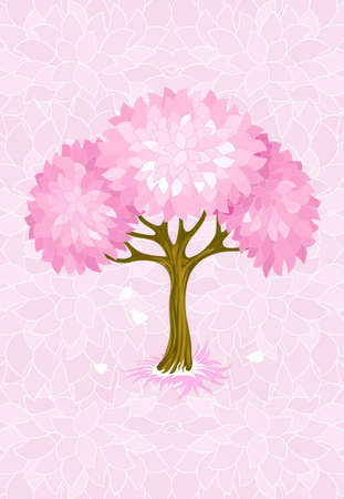 spring tree on pink background with ornament illustration Stock Illustration - 6589954