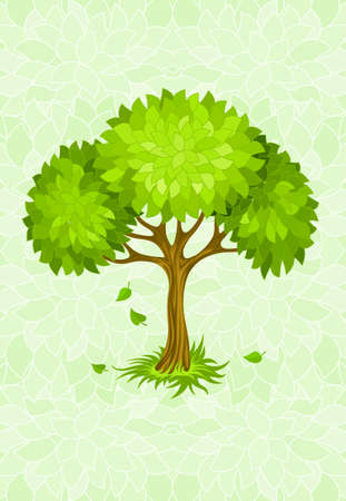 summer tree on green background with ornament illustration Stock Illustration - 6589958