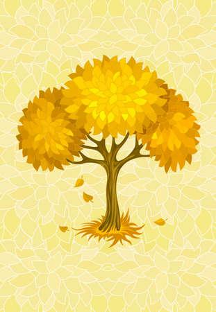 autumn tree on yellow background with ornament illustration Stock Illustration - 6589955