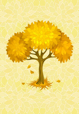 bole: autumn tree on yellow background with ornament illustration