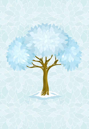 hoarfrost: winter tree on blue background with ornament illustration