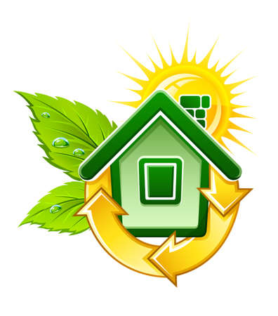 symbol of ecological house with solar energy illustration, isolated on white background Stock Photo