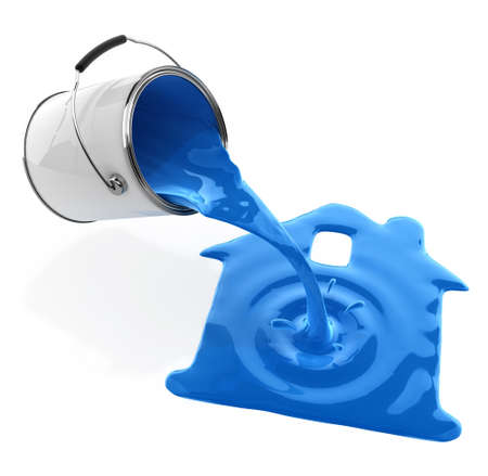 paint cans: blue paint pouring from bucket in house silhouette 3d-illustration