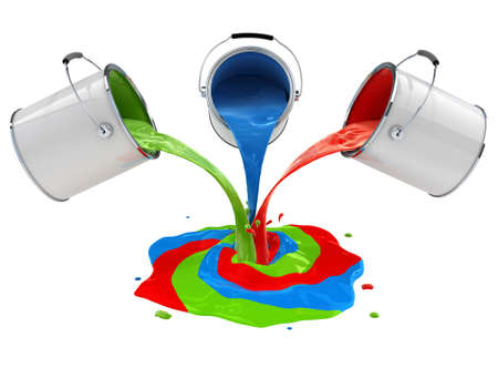 color paint pouring from buckets and mixing 3d-illustration, isolated on white background Stock Illustration - 6583701