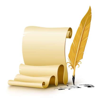script de papier vierge avec une ancienne encre feather pen illustration, isolée sur fond blanc