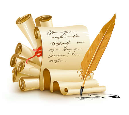 convoluted: paper scripts with handwriting text and old ink feather  illustration, isolated on white background.