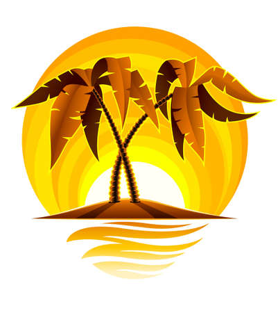 tropical palm on island in ocean with sunset illustration isolated on white background Stock Illustration - 6589970