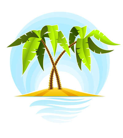 tropical palms on island in ocean illustration isolated on white background Stock Illustration - 6589963